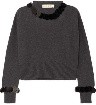 Marni Cropped Paillette-embellished Wool And Cashmere-blend Sweater - Gray