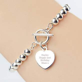 Hurley Sarah Personalised Engraved Message Heart Charm Bracelet