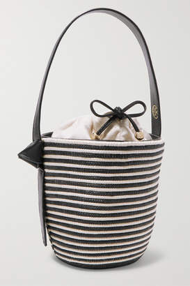Cesta Collective - Lunchpail Leather-trimmed Woven Sisal Bucket Bag - Navy