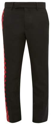 Chequered Panel Cotton Blend Twill Trousers - Mens - Black Red
