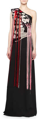 Alexander McQueen One-Shoulder Embroidered-Butterfly A-Line Evening Gown w/ Fringe