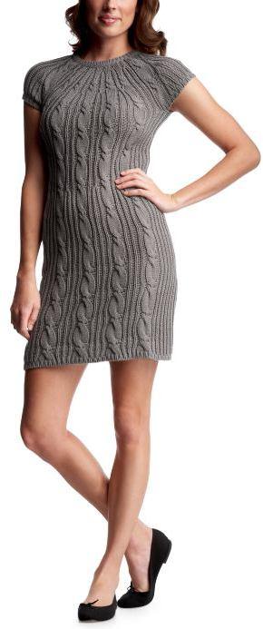 Cap-sleeved cableknit dress