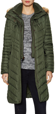 Kendell Quilted Fur Trim Coat $338 thestylecure.com
