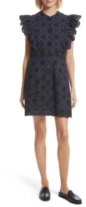 Women's Sea Ruffle Sleeve Eyelet Minidress $435 thestylecure.com