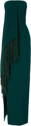 Oscar de la Renta Strapless Column Gown With Fringe