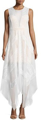 BCBGMAXAZRIA Andi Lace Handkerchief-Hem Dress, White $398 thestylecure.com