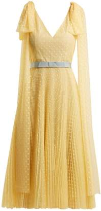Luisa Beccaria Polka-dot jacquard pleated gown