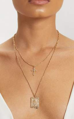 PrettyLittleThing Gold Square Pendant Cross Layered Necklace