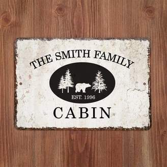 4 Wooden Shoes Personalized Distressed Vintage-Look Cabin Metal Sign Wall Dcor