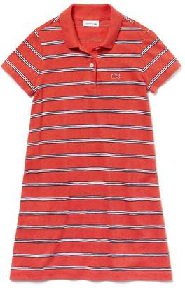 Lacoste Girls' Striped Cotton And Linen Polo Dress