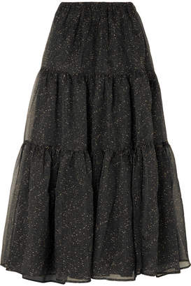REJINA PYO - Eva Tiered Embroidered Organza Maxi Skirt - Black