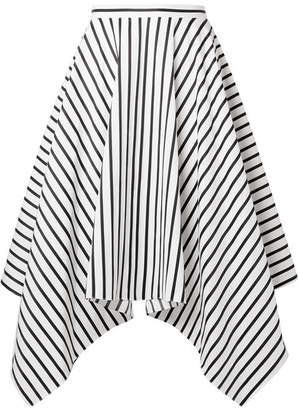 ADAM by Adam Lippes Asymmetric Striped Cotton-poplin Midi Skirt - White