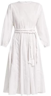 Rhode Resort - Devi Braided Belt Cotton Dress - Womens - White