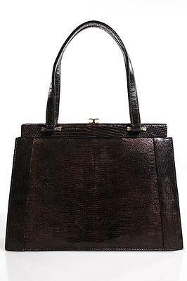 Designer Brown Leather Satchel Shoulder Handbag Size Small