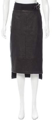 Zero Maria Cornejo Leather-Accented Wrap Skirt