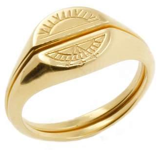 No 13 - Sun & Moon Signet Rings Gold