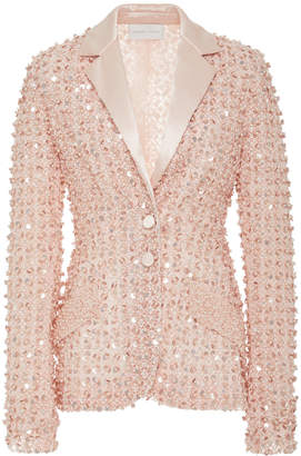 Pamella Roland Pearl And Sequin Embroidered Silk Blazer