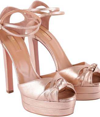 Aquazzura Harlow Metallic Leather Sandals