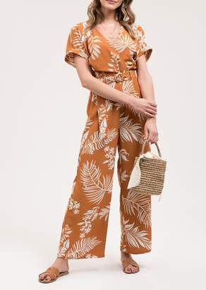 Blu Pepper Tropical Leaf Print Jumpsuit