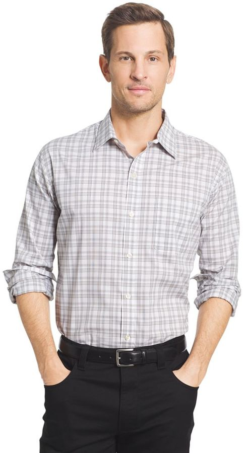 Van heusen men 39 s traveler classic fit stretch no iron for Mens no iron dress shirts