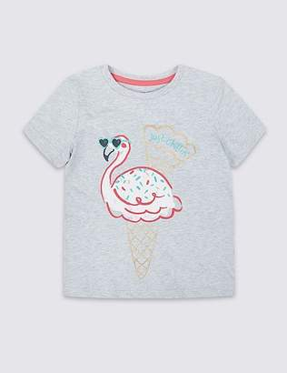 Marks and Spencer Pure Cotton Flamingo T-Shirt (3 Months - 7 Years)