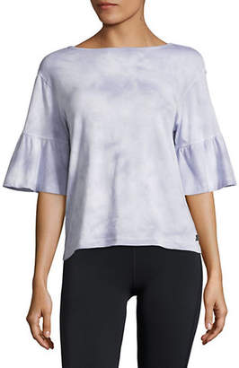 Calvin Klein Tie-Dyed Ruffled Bell-Sleeve Top