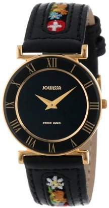 Jowissa Women's J2.037.M Roma Ethno Gold PVD Stainless-Steel Black Leather Watch
