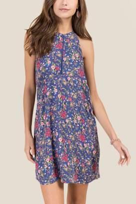 Everly Melissa Floral Cutout Shift Dress - Vintage Purple