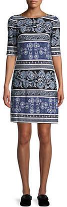 Eliza J Elbow-Sleeve Printed Shift Dress