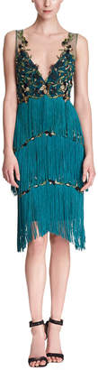 Marchesa Embroidered Fringe Cocktail Gown