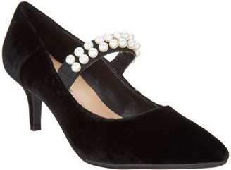 Isaac Mizrahi Live! Velvet Pumps with Faux Pearl Strap