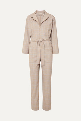 Maje Belted Checked Cady Jumpsuit - Stone