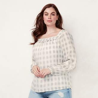Lauren Conrad Plus Size Love, Lauren Shirred Peasant Top