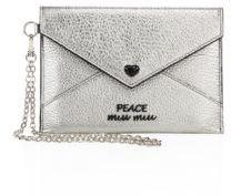 Miu MiuMiu Miu Metallic Leather Peace Envelope Chain Pouch