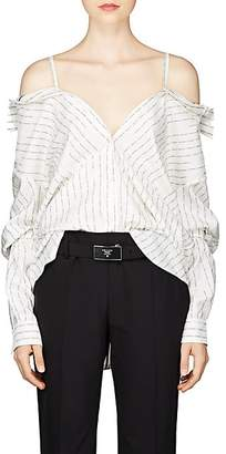 Prada Women's Convertible Logo Silk Blouse - Ivorybone
