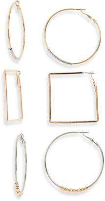 BP Set of 3 Tri-Tone Geometric Hoop Earrings