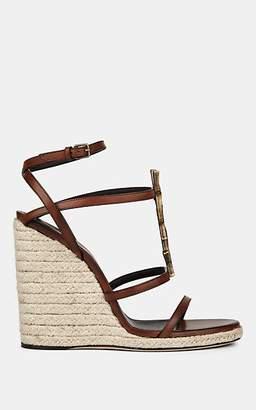 Saint Laurent Women's Cassandra Leather Espadrille Wedge Sandals - Brown