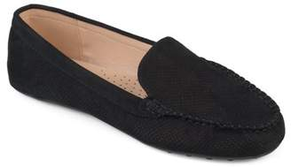 Brinley Co. Women's Comfort Sole Faux Nubuck Laser Cut Loafers