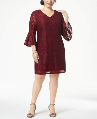 Connected Plus Size Lace Bell-Sleeve Dress