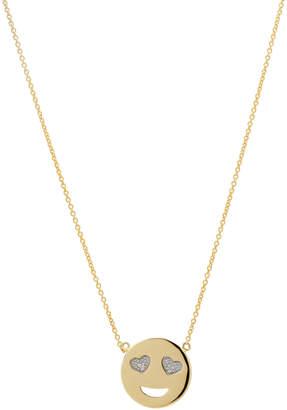 Casa Reale 14k Yellow Gold Small Smiley Diamond Pendant Necklace