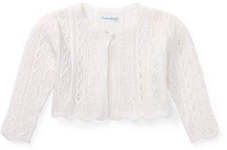 Ralph Lauren Childrenswear Pointelle Knit Half Cardigan, Size 6-24 Months