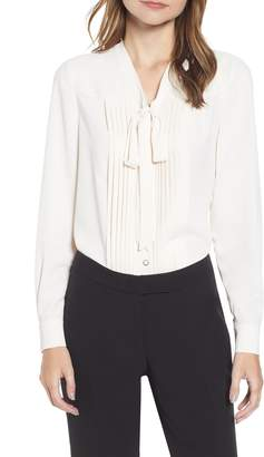 Anne Klein Tie Neck Button Front Long Sleeve Blouse