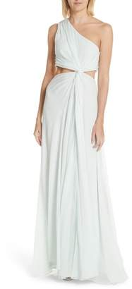 Cinq à Sept Goldie One-Shoulder Silk Gown