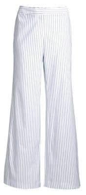 Donna Karan Wide Leg Striped Cotton Pants