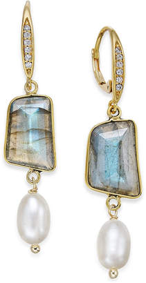 Paul & Pitü Naturally 14k Gold-Plated Pavé Colored Stone and Cultured Freshwater Pearl Drop Earrings $75 thestylecure.com