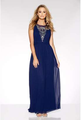 Quiz Navy Diamante Embellished V Neck Maxi Dress