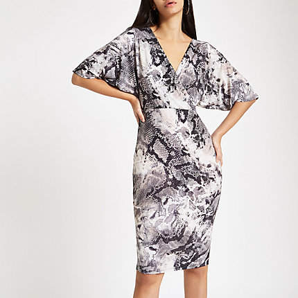 Womens Grey snake print wrap front midi dress