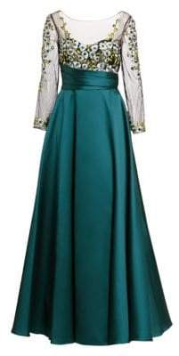 Marchesa Women's Illusion Embroidery Ball Gown - Teal - Size 14
