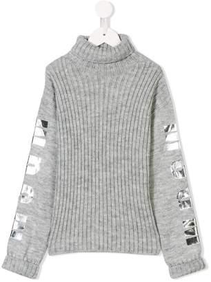 MSGM Kids logo print roll neck jumper