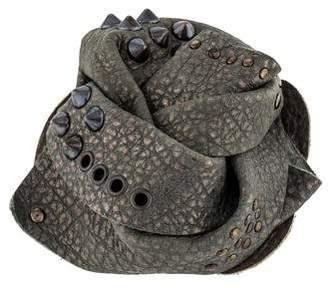 Brunello Cucinelli Leather Rosette Brooch